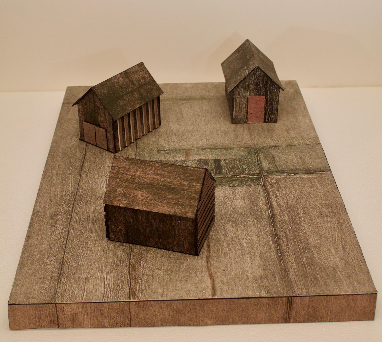 "Isolation three houses 4.5 x 3 x 4.5"" stand 23.5 x 17 x 1.75"""